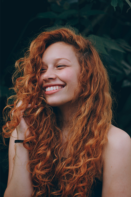 Red Hair Colored Woman Smile